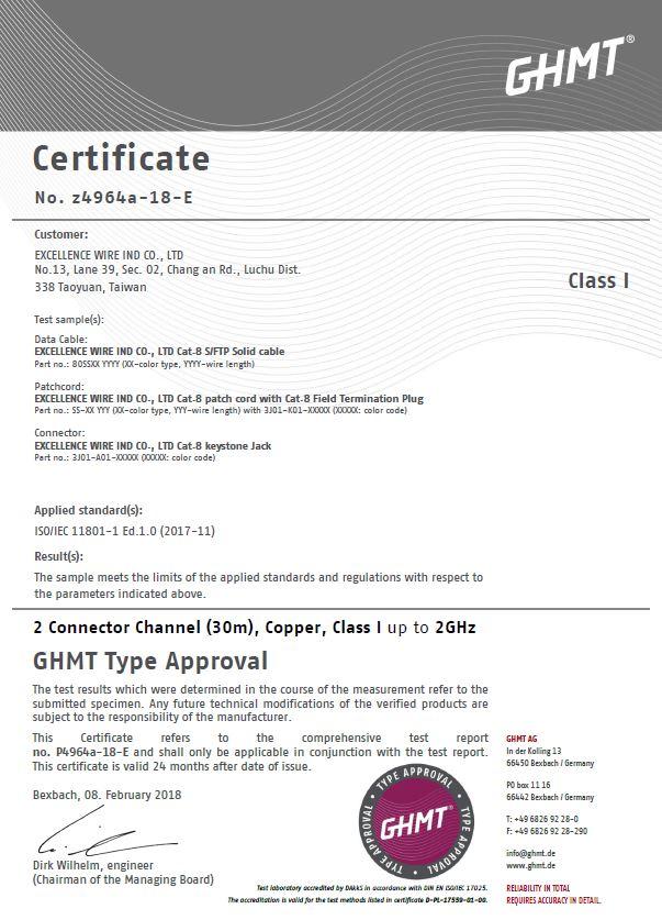 CAT8 CERTIFICATE GHMT-3