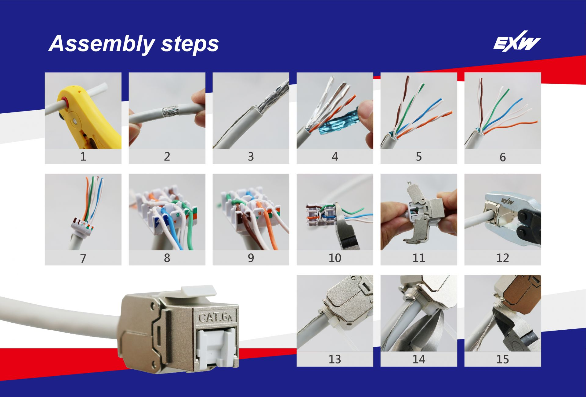 Assembly Guide below shows how to terminate keystone jack and assemble it with cable easily